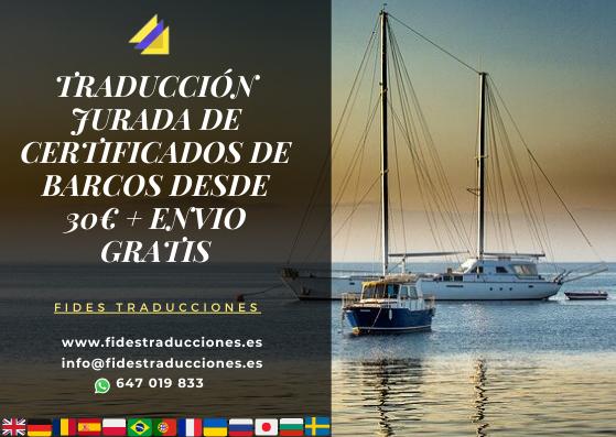 Oferta Traducción Certificado Barcos Fides Traducciones Traductores Jurados Madrid